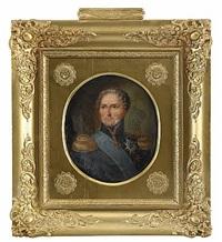 porträtt av karl xiv johan, klädd i uniform med serafimerordens blå band by carl vilhelm nordgren