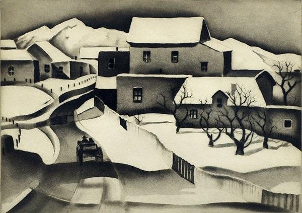 taos in winter by gene kloss