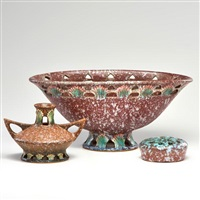 ferella footed bowl with flower frog and cabinet vase by roseville