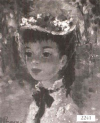 young girl wearing flower hat by a. leroux