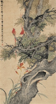 双栖图 (pheasants) by jiang hanting
