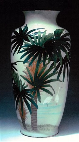 a tall vase with egrets palm trees and grasses by jubei ando