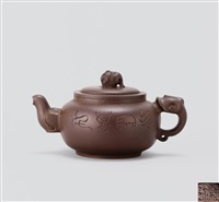 集祥壶 (teapot with elephant shaped knob) by xu xiutang and zhou guizhen