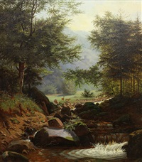 deer by a mountain stream by hermann herzog