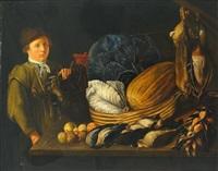 jagdliches stilleben in barocker manier. junger mann neben enten, schnepfen, obst und gemüse by g. zillenbach