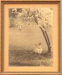 young girl playing a flute under a cherry blossom tree by john paul edwards