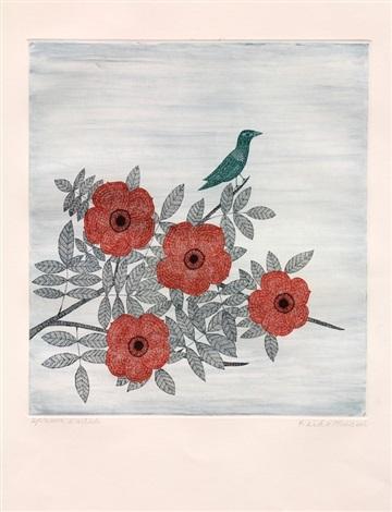 plum tree with bird by keiko minami