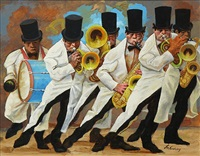 jazz #58, six men, storyville marching band in top hats by frank nelson ashley