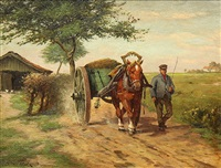 a farmer and hay wagon on a country path by oscar becker