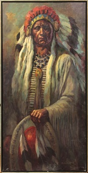 native american chief portrait (+ native american chief portrait; pair) by severo enrique zavaleta