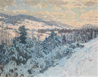winter scene with distant farmhouses by bruce nelson