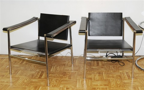 sessel in the style of le corbusier pair by usm haller co on artnet. Black Bedroom Furniture Sets. Home Design Ideas