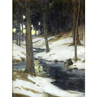 landscape with a stream in winter by charles morris young