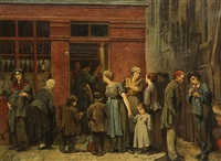 in front of the pub by leon charles adrien bailly