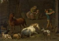 stall mit bauernfamilie, pferden, schafen und ziegen by jan van ossenbeeck