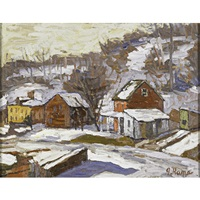 lambertville winter scene by john kane