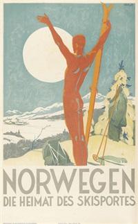 norwegen die heimat des skisportes (poster) by trygve m. davidsen