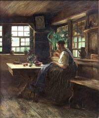 woman mending an interior by wilhelm g. hasemann