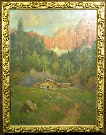 log cabin nestled in the hills by henry leopold richter