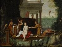 palatsexteriör med betsabée i badet by jan van kessel and and adriaen van stalbemt