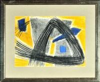 abstrakte komposition mit blau und gelb by jürgen von hündeberg