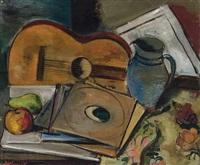 """""""stilleben"""" (mandoline mit blauem krug und früchten) by hans hubertus von merveldt"""