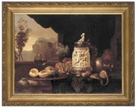 a röemer, peaches, grapes, walnuts, oranges, a mid-17th century german silver-mounted ivory tankard, with a jug to the side, extensive landscape beyond by gyula andreas bubárnik