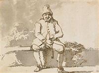 sittande man med pipa i landskap by jean-eric rehn