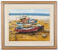 boats on the beach by hamish macdonald