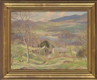 cottages on a hillside overlloking a lake by william h. waddington