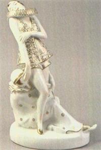zwei figuren, eine sitzend, eine stehend by älteste volkstedter porzellanfabrik (co.)