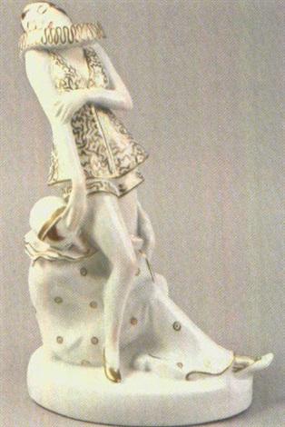 zwei figuren eine sitzend eine stehend by älteste volkstedter porzellanfabrik co