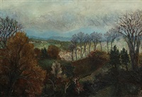 landscape of a french village by charles hippolyte andre