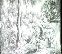 sudliche gartenlandschaft mit ruckenfigur einer davon-   eilenden jungen frau. by gustav campmann