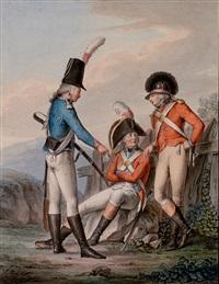 drei offiziere der kurfürstlich sächsischen armee beraten sich by johann michael mettenleiter