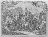die heiligen drei könige zu pferd und mit kameltross vor bethlehem by ch. fr. hoermann von & zu guttenberg
