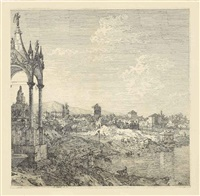 view of a town with a bishop's tomb (and others) (3 works) by canaletto