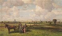 blick von einer anhöhe auf weites panorama einer hansestadt (?). am vorderen bildrand pferdegespann mit ausflüglern by paul riess