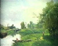 franzosische kanallandschaft mit fischer by charles théodore sauvageot