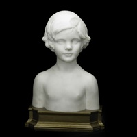 bust of child on wood base by mario korbel