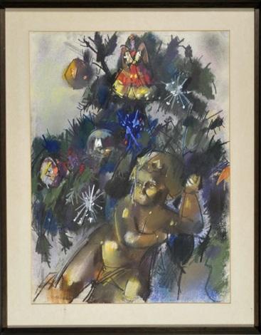 weihnachtsbaum mit schmuck und holzengel by otto herbig