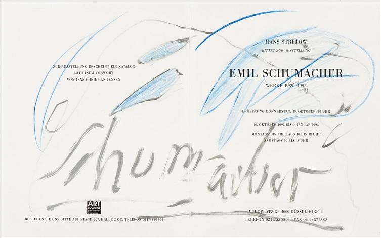 ausstellungseinladung mit gefälligkeitszeichnung rectoverso by emil schumacher