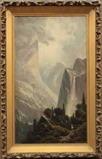 riding the trail, bridalveil falls, yosemite by ransom gillet holdredge