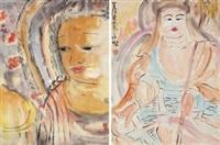佛系列之一之二 (buddha) (2 works) by pang yongjie