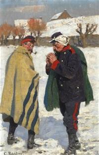 kalter wintertag. zwei französische soldaten, vor einem dorfe inne haltend by carl röchling