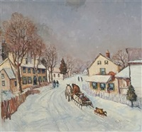 winter landscape with horse drawn sleigh and figures by edward o. kraske