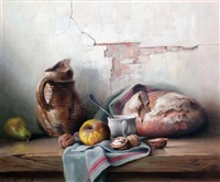 table top still life of waluts, a loaf of bread and apple by robert chailloux