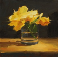 yellow roses in glass by ben aronson