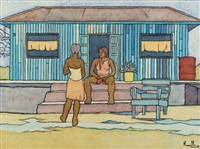 Two women chatting in front of a dwelling