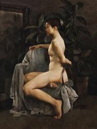 有橡皮树的画室 (female portrait) by guo runwen